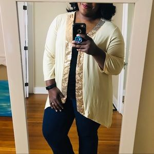 Slinky Brand Cardigan w Sequin Accents